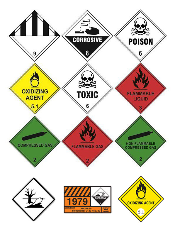 hazard-warning-diamond-labels-on-a-roll